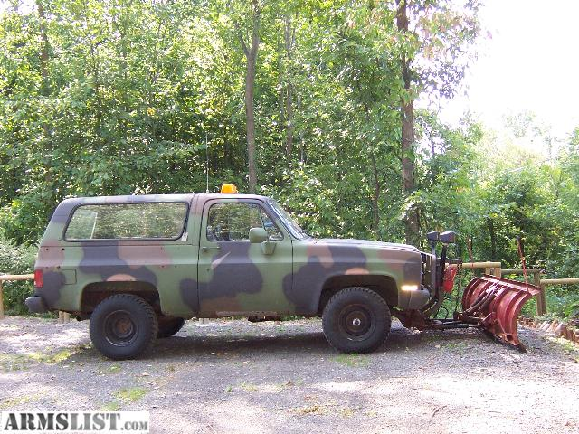 Camo Chevy Trucks for Sale http://www.armslist.com/posts/27764/rochester-new-york-vehicles-for-sale--1983-chevy-k-blazer-camo-diesel-military-truck