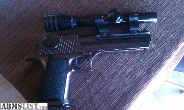 Desert eagle with silencer and scope