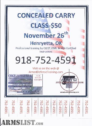 Oklahoma Concealed Carry Class http://www.armslist.com/posts/235296/oklahoma-services-for-sale--concealed-carry-class