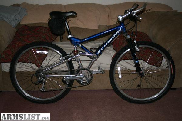 Schwinn S10 http://www.armslist.com/posts/632407/winston-salem-misc-for-sale-trade--schwinn-s10-mountain-bike-like-new-full-suspension--400