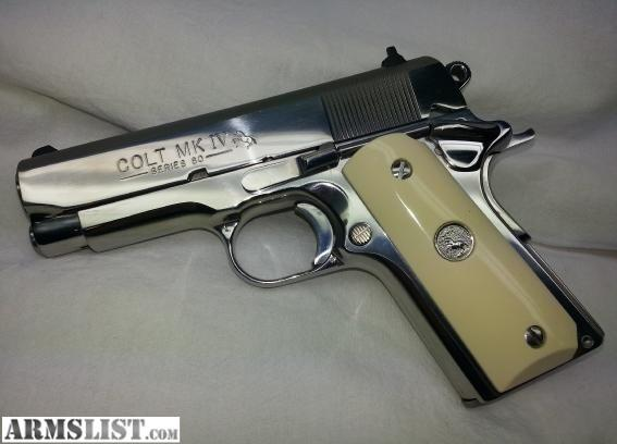 Colt Officer 45 http://www.armslist.com/posts/897302/ohio-rifles-for-sale--colt-1911-officer-s-polished-stainless-ivory-45