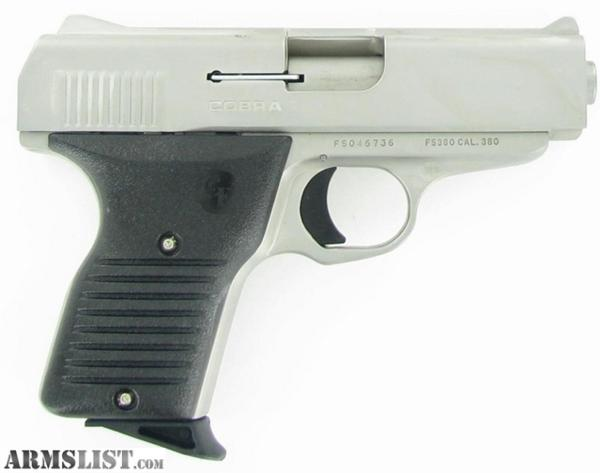 Cobra 380 Pistol http://armslist.com/posts/983342/wichita-kansas-handguns-for-sale--cobra-ent--380-satin-w--pistol-blk-grips-freedom-
