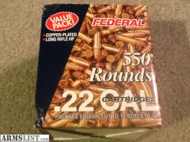 For Sale: Federal 22 LR Ammo 550 Rounds