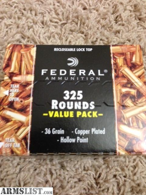 For Sale: Federal 22lr 325 Round Value Pack 36gr Copper Plated Hollow