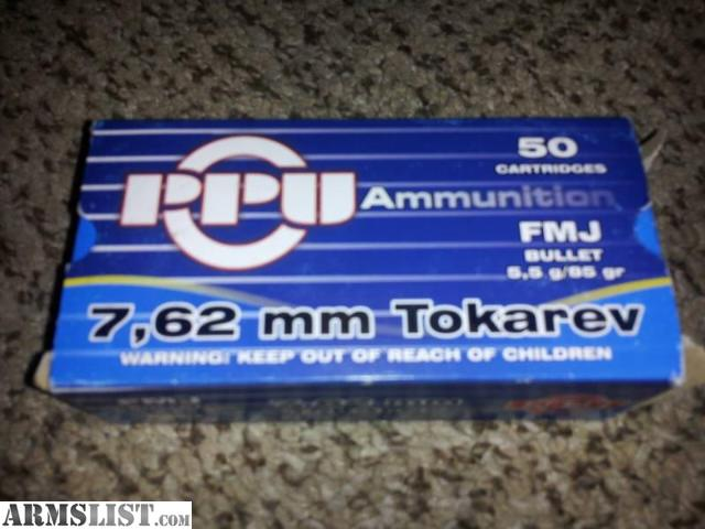 7_62 X 25 http://www.armslist.com/posts/1138906/lawton-oklahoma-ammo-for-sale-trade---7-62x25mm-7-62tt--7-62-tokarev-