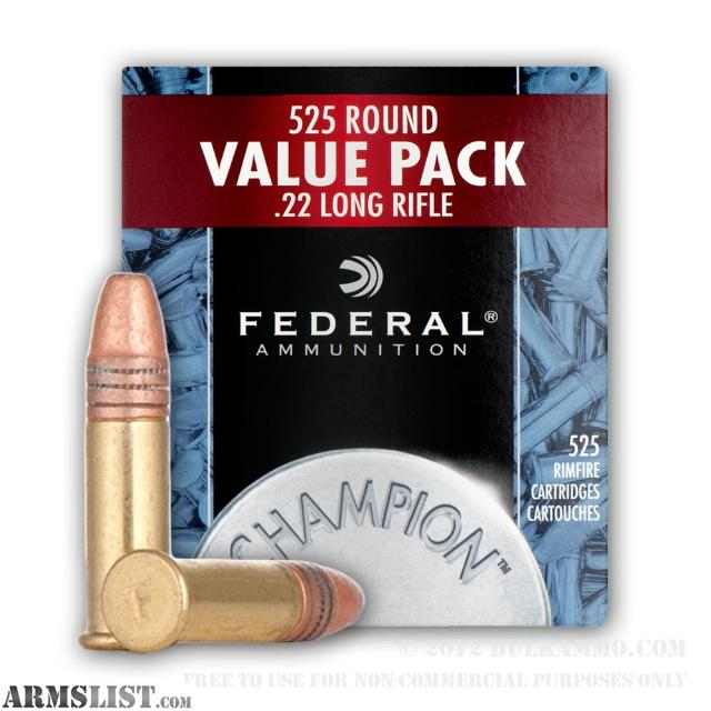 : FEDERAL .22 LONG RIFLE 525 ROUND BULK PACK HOLLOW POINT AMMUNITION