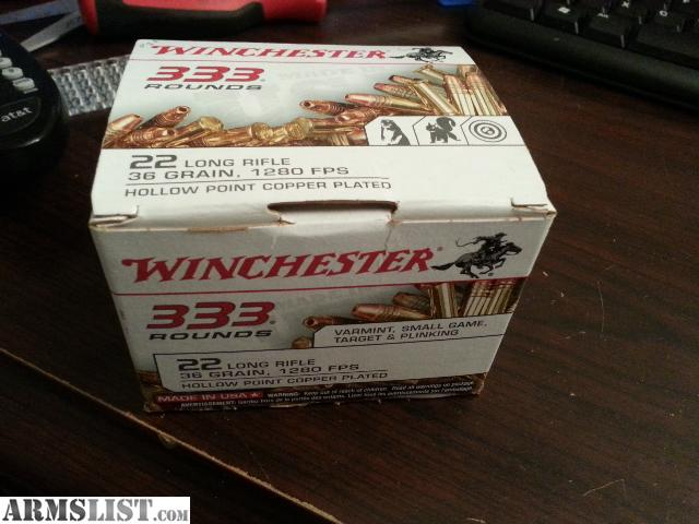 For Sale: winchester 22lr 36grain hollow point copper plated 333rd box