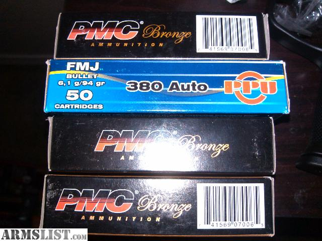 200 rounds of. 380 auto for sale. 150 rounds of pmc bronze. 380 fmj