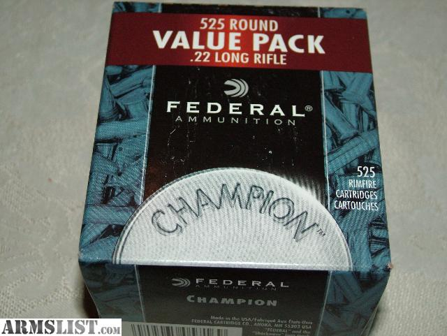 For Sale: Federal Champion .22LR ammo - Boxes of 525 rounds Copper