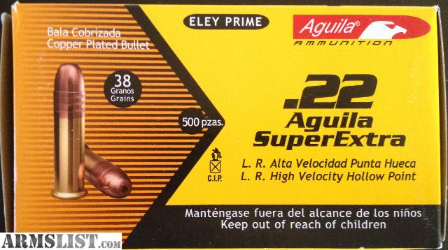 For Sale: Aguila SuperExtra 22LR Long Rifle 38 Grain Copper Plated ...