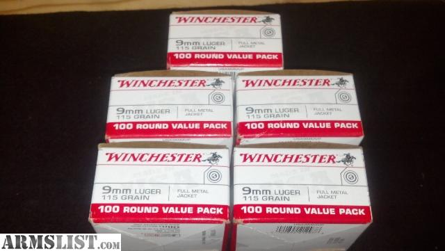500 Winchester 9mm 500 Rounds of Winchester 9mm