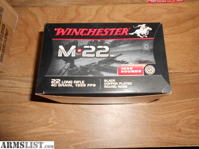 For Sale: 1000 rds Winchester M-22 .22 LR 40 gr rifle ammo