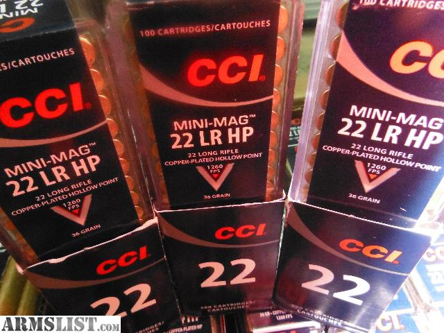For Sale: cci mini mag 22 lr 36 gr. hollow point. 100.00 a sleeve