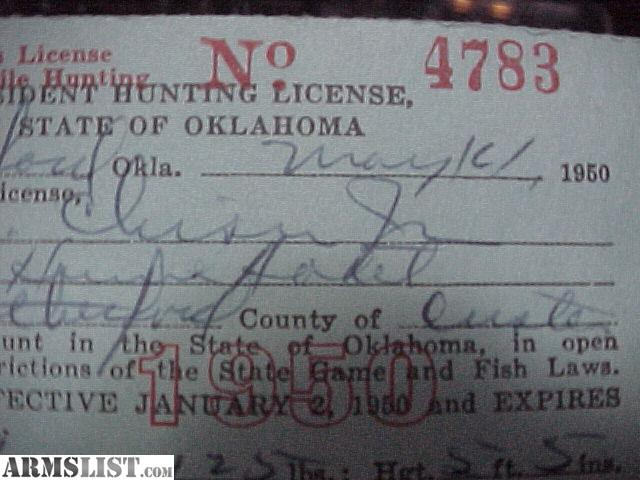 Armslist for sale 1950 oklahoma hunting license w 1951 for Kansas fishing regulations