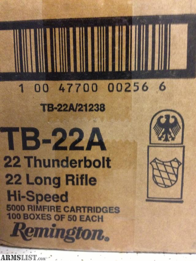 For Sale: 5000 Rounds Remington TB-22A Thunderbolt 22LR Ammo