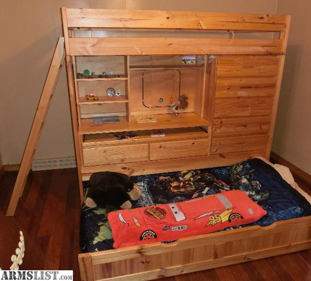 Armslist for sale quality pine bunk bed w desk and dresser for Bed and dresser for sale