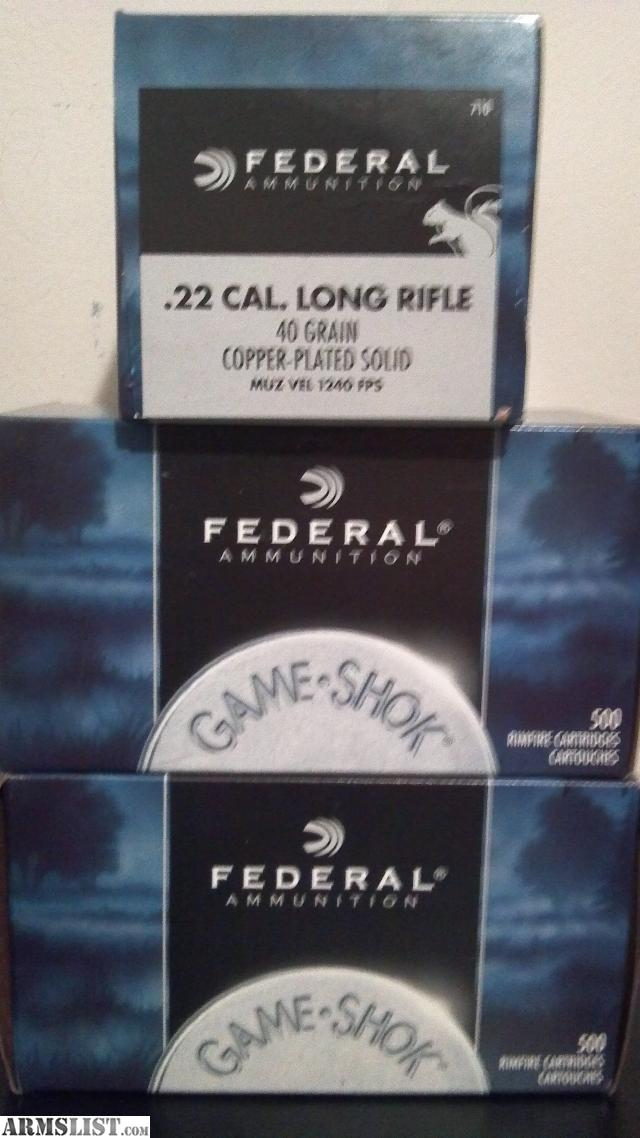 For Sale: 1,500rds of Federal Game Shok 40gr 1240fps CP Solid 22LR