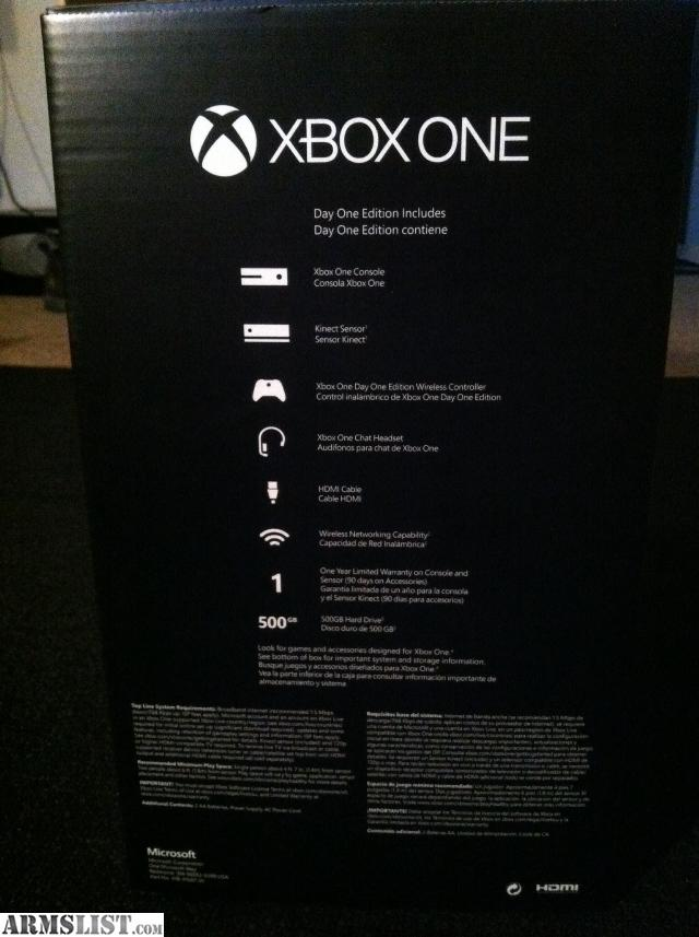armslist for sale xbox one day one edition. Black Bedroom Furniture Sets. Home Design Ideas