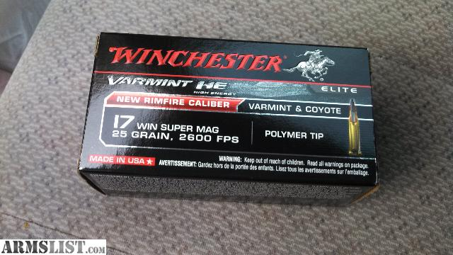 Winchester 17WSM 25 grain Polymer tip ammo I am selling at $22 per box