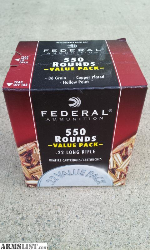 Federal 22lr ammo, 36gr 1260 fps JHP, 550 rounds box, $50 each.
