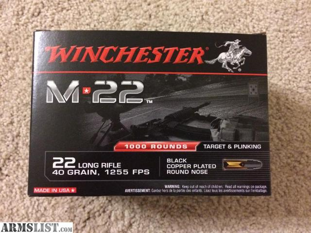 two, 1000 round bricks of Winchester M22 (22lr) left up for sale. Sale