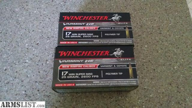 For Sale: 100 rounds of 17 wsm winchester super magnum