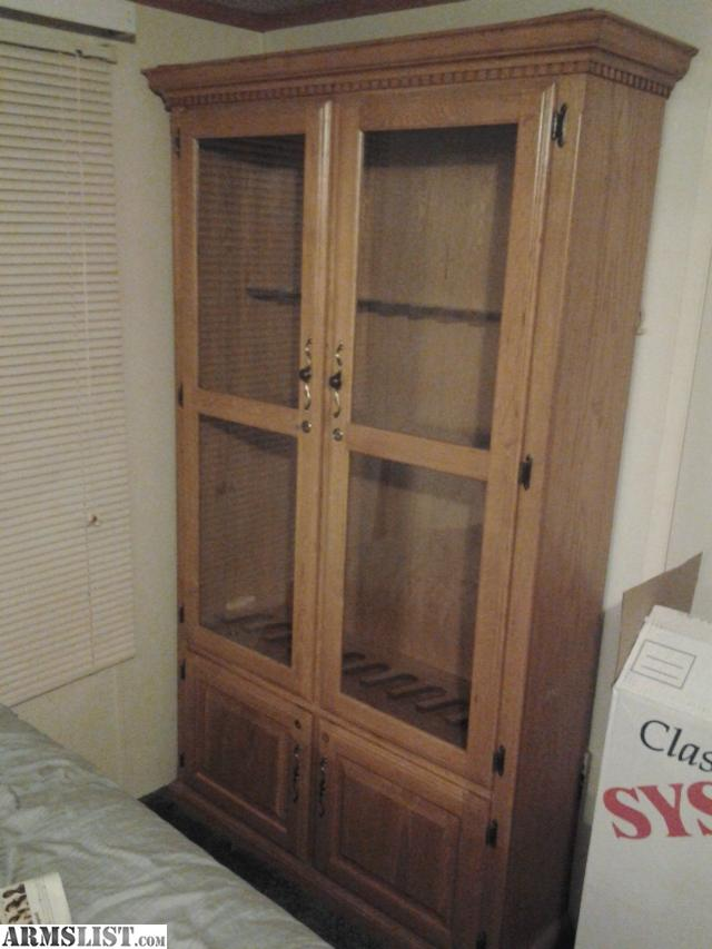 Armslist for sale large wooden gun cabinet w glass doors for Oversized exterior doors for sale